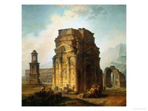 The Ruins of the Roman Triumphal Arch and the Theatre at Orange by Hubert Robert