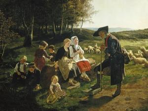 Children Listen to a Shepherd, 1868 by Hubert Salentin
