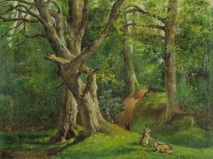 Woodland Scene with Rabbits, 1862 by Hubert von Herkomer