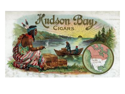 Hudson Bay Brand Cigar Inner Box Label, Native American-Lantern Press-Art Print
