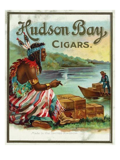 Hudson Bay Brand Cigar Outer Box Label, Native American-Lantern Press-Art Print