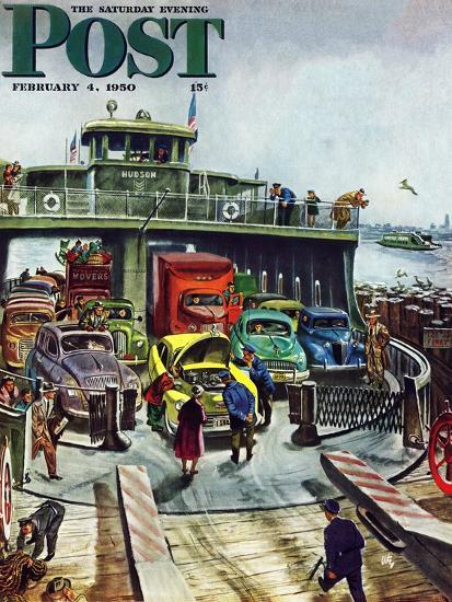 """Hudson Ferry"" Saturday Evening Post Cover, February 4, 1950-Thornton Utz-Giclee Print"
