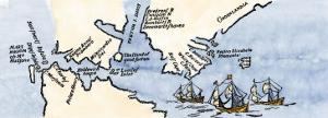 Hudson's Map of His Voyages in the Arctic, Published in 1612