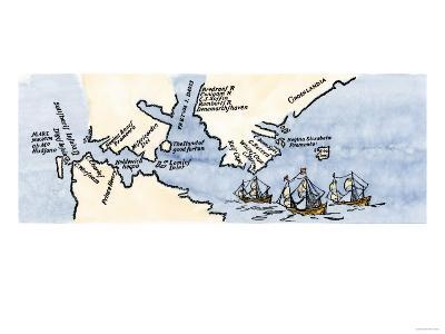 Hudson's Map of His Voyages in the Arctic, Published in 1612--Giclee Print