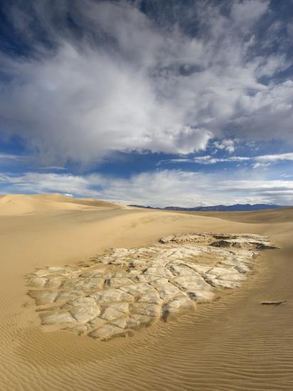 Huge Cumulus Cloud over Eroded and Cracked Clay Formation at Mesquite Flat Sand Dunes-Witold Skrypczak-Photographic Print
