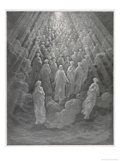 Huge Host of Angels Descend Through the Clouds in Paradise-Gustave Dor?-Giclee Print