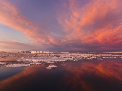 Huge Iceberg and Ice Floes in the Ocean at Sunrise, Antarctica-Keren Su-Photographic Print