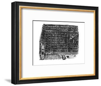 Huge library room, with books from floor to ceiling, is scaled by a woman ? - New Yorker Cartoon-Warren Miller-Framed Premium Giclee Print