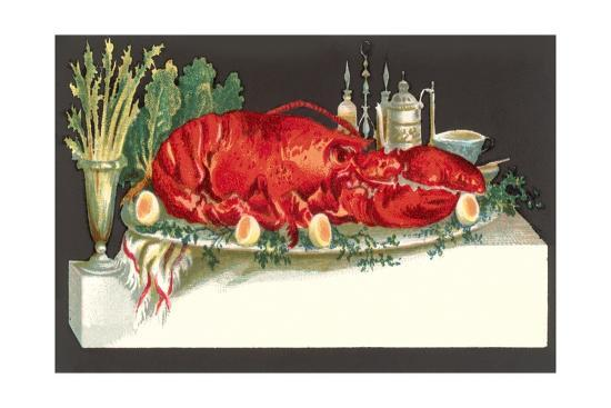 Huge Lobster on Serving Platter-Found Image Press-Giclee Print