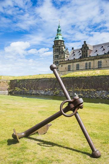 Huge Old Anchor before UNESCO World Heritage Site Kronborg Renaissance Castle, Helsingor, Denmark-Michael Runkel-Photographic Print