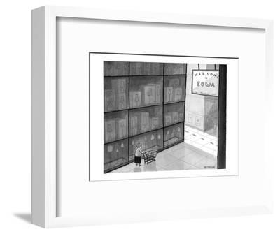 """Huge store has state line and sign that says """"Welcome to Iowa."""" - New Yorker Cartoon-Jason Patterson-Framed Premium Giclee Print"""