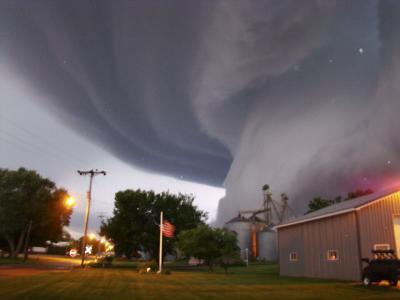 Huge Tornado Funnel Cloud Touches Down in Orchard, Iowa,--Photographic Print