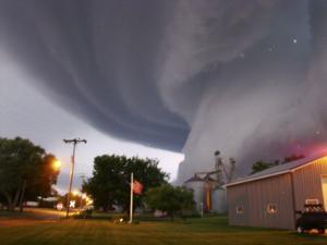 Huge Tornado Funnel Cloud Touches Down in Orchard, Iowa,