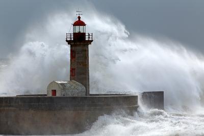 Huge Wave over Lighthouse-Zacarias da Mata-Photographic Print