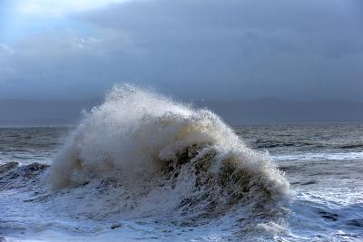 Huge Waves Crash Against a Stone Jetty at Criccieth, Gwynedd, Wales, United Kingdom, Europe-Graham Lawrence-Photographic Print