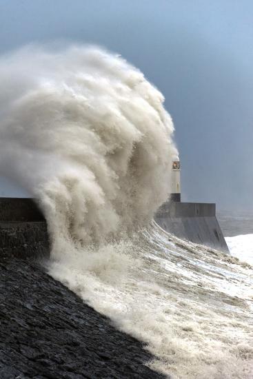 Huge Waves Crash Against the Harbour Wall at Porthcawl, Bridgend, Wales, United Kingdom, Europe-Graham Lawrence-Photographic Print