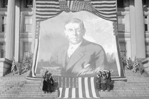 Huge Woodrow Wilson Painting on Fabric Draped In Front of Government Building