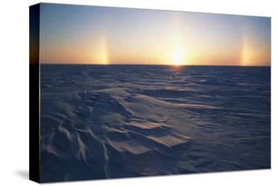 Arctic Coastal Plain, Sundog over Snowy Landscape, Alaska, USA