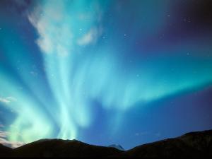 Green Aurora Borealis Around Mt. Snowden, Brooks Range, Alaska, USA by Hugh Rose