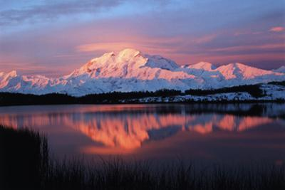 Lake with Mt McKinley, Denali National Park and Preserve, Alaska, USA by Hugh Rose