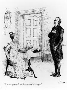"""Mr. Collins and Elizabeth, from """"Pride and Prejudice"""" by Jane Austen circa 1894 by Hugh Thomson"""