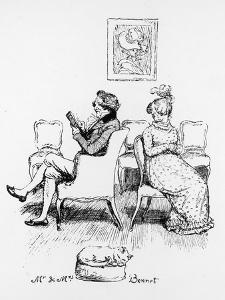 Mrs Bennet Turns to Speak to Her Husband Who is Reading a Book by Hugh Thomson