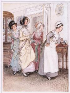 Patty Ushers in the Sisters, Willoughby and Miss Henrietta by Hugh Thomson