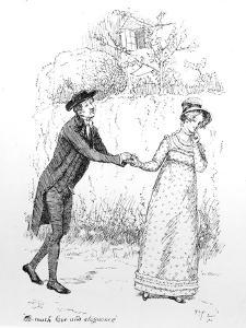 So Much Love and Eloquence', Illustration from 'Pride and Prejudice' by Jane Austen, Edition… by Hugh Thomson