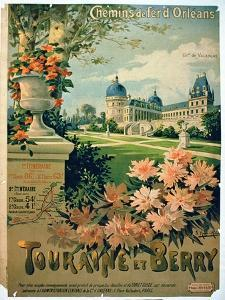 """Advertisement for """"Touraine et Berry"""", by Orleans Railway by Hugo D'Alesi"""