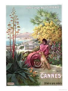 Travel Poster Advertising the Paris-Lyon-Mediterranee Train Line and Holidays in Cannes, 1904 by Hugo D' Alesi