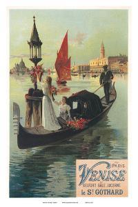 Venise par Saint Gothard, Venice, Italy, Gondolas Gondolieri, Art Nouveau, La Belle Époque by Hugo D'Alesi