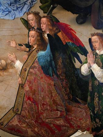 Praying angels. Detail of the central panel of the Portinari Altar, 1476