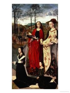 Saint Margaret and Saint Mary Magdalen with Maria Portinari and Her Daughter by Hugo van der Goes