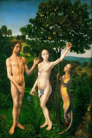 The Fall. Adam and Eve tempted by the snake. Diptych of the Fall and the Redemption.