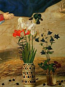 Vase with White, Red and Blue Lilies and Iris, Another with Seven Columbines by Hugo van der Goes