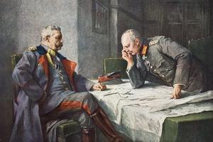 General Von Hindenburg and Generalquartiermeister Erich Von Ludendorff at the Map Table by Hugo Vogel