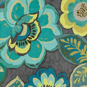 Floral Assortment Teal on Dark Grey Crop I by Hugo Wild