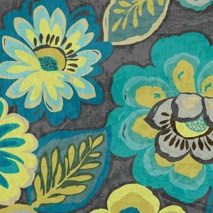 Floral Assortment Teal on Dark Grey Crop II by Hugo Wild