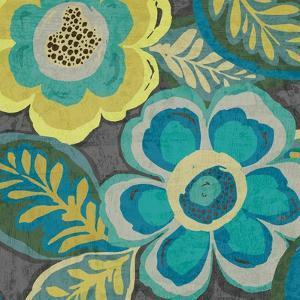 Floral Assortment Teal on Dark Grey Crop III by Hugo Wild
