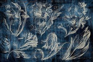Vintage Tulip Floral Etching Indigo by Hugo Wild