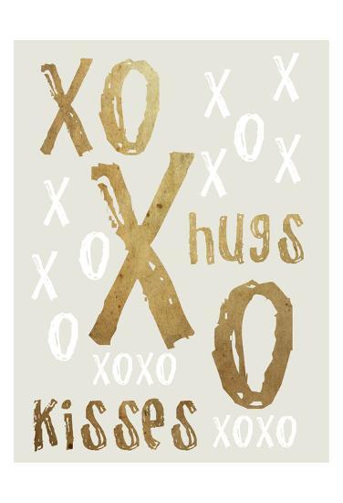 Hugs and Kisses Gold-Sheldon Lewis-Art Print