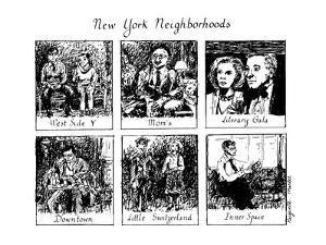 New York Neighborhoods - New Yorker Cartoon by Huguette Martel