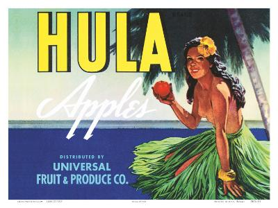 Hula Apples, Crate Label with Topless Hula Girl, c.1930s--Art Print