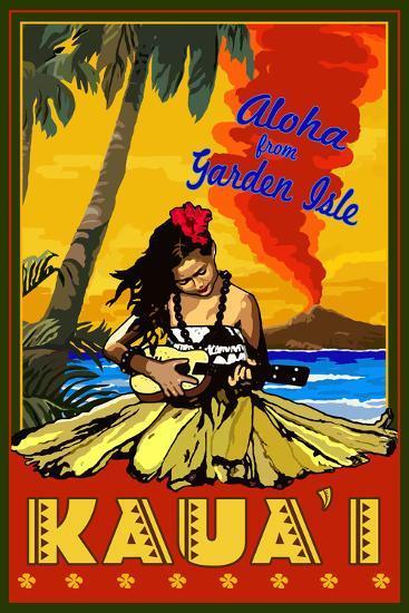 Hula Girl and Ukulele - Kauai, Hawaii-Lantern Press-Wall Mural