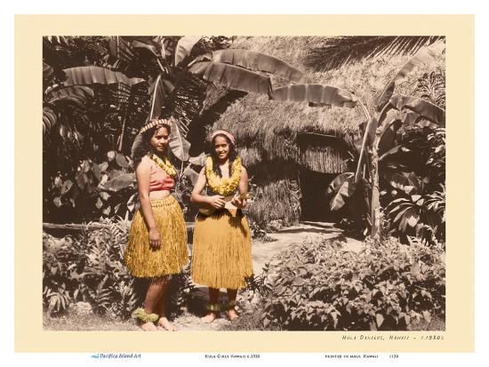 Hula Girls Hawaii-Unknown-Art Print