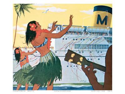 Hula Greeting on Boat Day, Honolulu Harbor, Hawaii, c.1930--Art Print
