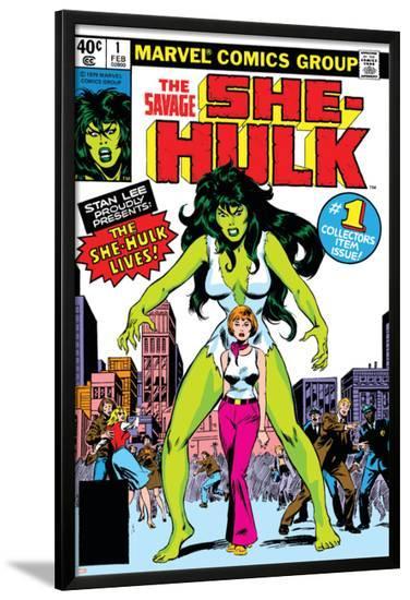 Hulk Family: Green Genes No.1 Cover: She-Hulk, Walters and Jennifer-John Buscema-Lamina Framed Poster