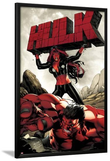 Hulk No.47 Cover: Red She-Hulk and Red Hulk-Carlo Pagulayan-Lamina Framed Poster