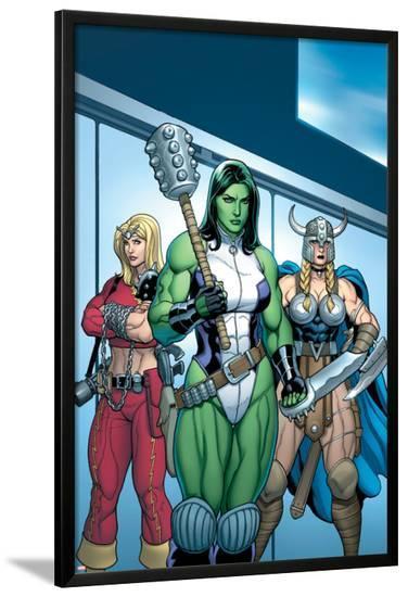 Hulk No.7 Group: She-Hulk, Valkyrie and Thundra-Arthur Adams-Lamina Framed Poster