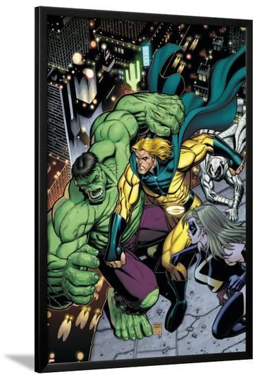 Hulk No.8 Cover: Hulk, Sentry and Ms. Marvel-Arthur Adams-Lamina Framed Poster